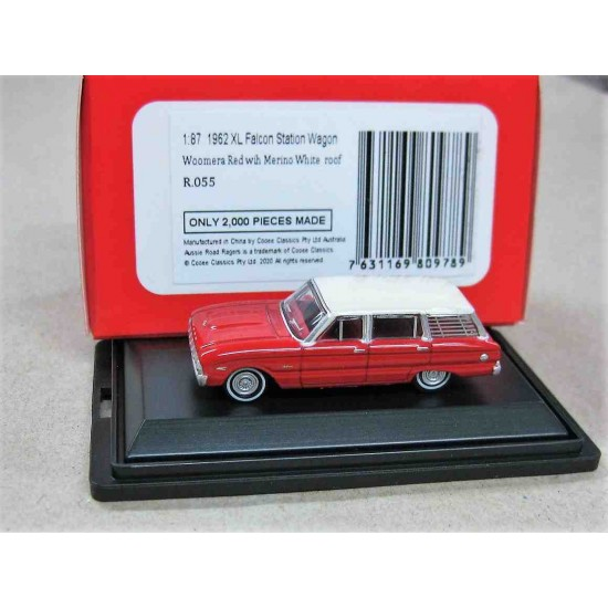 Ford XL Falcon Wagon Woomera Red/Merino White Roof 1962 scale 1/87 (HO)